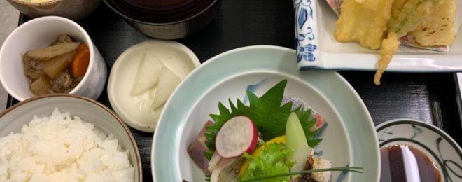 刺身とイカの天ぷら定食